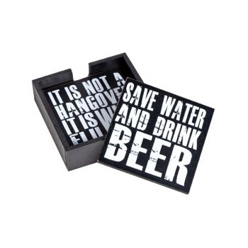 Cosy & Trendy Coaster S4 Wood Black With Text