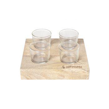 Cosy & Trendy Wooden Plank W 4 Glasses 22x22x4cm