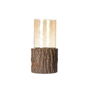 Cosy & Trendy Wood-glass Hurricane 33x14x14cm