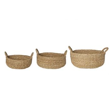 Cosy @ Home Holzkorb Set3 Natur Rund Seagrass