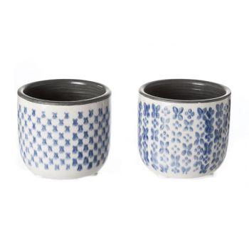 Cosy @ Home Flowerpot Madeleine 2 Types Cer Blue 8x8x7