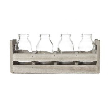 Cosy & Trendy Wooden Box -4 Glass Bottles 24.5x7xh11cm