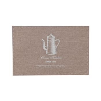 Cosy & Trendy Placemat Poly-linen Brown-printed Silver