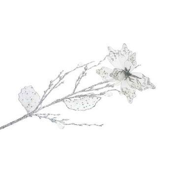 Cosy @ Home Poinsettia 76cm Silver Glitter