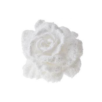 Cosy @ Home Rose Auf Clip Weiss Mit Schnee D10cm
