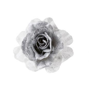 Cosy @ Home Rose Auf Clip Glitzer Weiss Silber D10cm