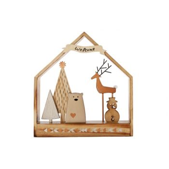 Cosy @ Home Nordic Haus Holz 30x6.5xh32cm Kupfer