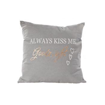 Cosy @ Home Kissen Kiss Me Goodnight Grau 45x45cm