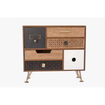 Cosy @ Home Cabinet Retro 6 Lades Bruin 30x12x28cm