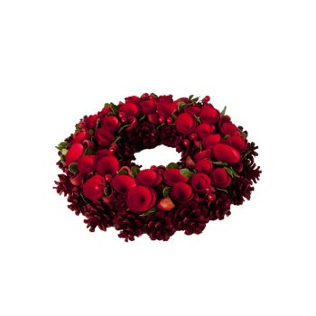 Cosy @ Home Wreath Flower Red Holz D34xh9cm