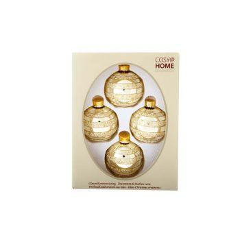 Cosy @ Home Weihn.kugel Glas Set4 L.gold Glitze D7cm
