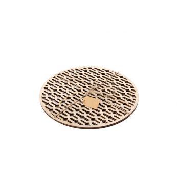 Cosy @ Home Coaster Set2 Round Wood Gold 25x25x0.6cm