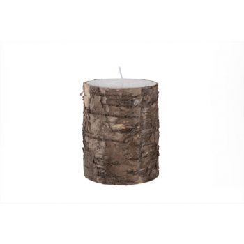 Cosy @ Home Candle Cyl.white Bark Brown  D7.5xh10cm