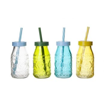 Cosy & Trendy Bottle Colored Glass D6xh12cm 4 Types