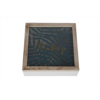 Cosy @ Home Box Jungle Weiss Holz 20x20xh6,5cm