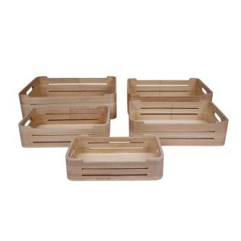 Cosy & Trendy Aufbewahrungbox Set5 Pln Wood 36x26x10cm