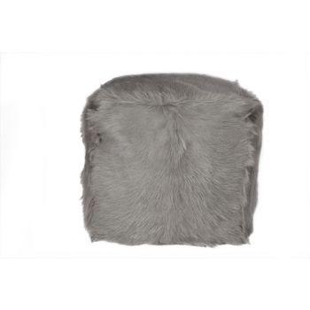 Cosy @ Home Pouf Goat Fur Light Gray 40x40x40cm