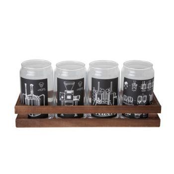 Cosy & Trendy Glass Jar With Print Set4 18x18xh13cm