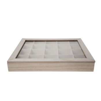 Cosy @ Home Teabox 20comp Wood And Glass Natur 43x36