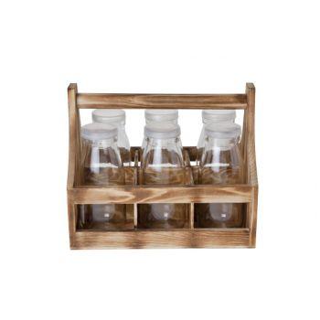 Cosy & Trendy Halter Holz Mit 6 Flaschchen 5.9x14cm-s6