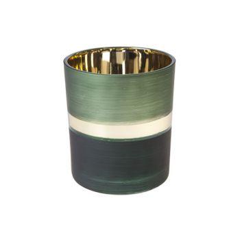 Cosy @ Home Teelichthalter Mehrfarbig Rund Glas 9x10
