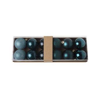 Cosy @ Home Weihnachtskugel Set12 Dunkel Blau Rund P