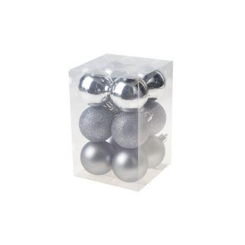 Cosy @ Home Weihnachtskugel Set12 Silber Rund Pvc 0x