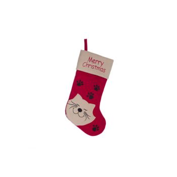 Cosy @ Home Weihnachtssocke Rot Weiss Textil L19 Wit