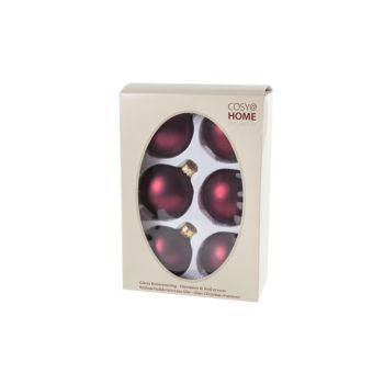Cosy @ Home Weihnachtskugel Set6 Dunkel Rot Kugel Gl