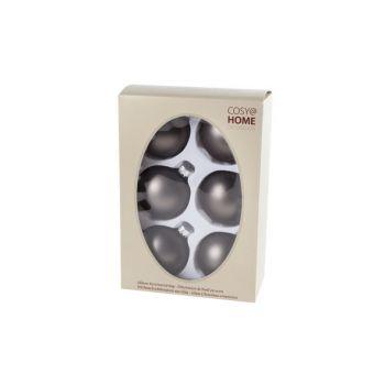 Cosy @ Home Weihnachtskugel Set6 Taupe Kugel Glas D7