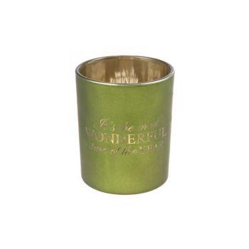Cosy @ Home Teelichthalter Grun Rund Glas B6 H7,5