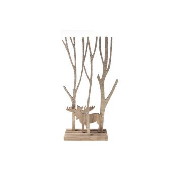 Cosy @ Home Deer And Tree On Base Braun Holz 46x20x8