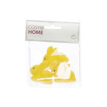 Cosy @ Home Kaninchen Set3 Flocked Gelb 4,5x2xh4cm