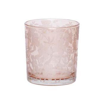 Cosy @ Home Teelichtglas Flowers Rosa 7x7xh8cm