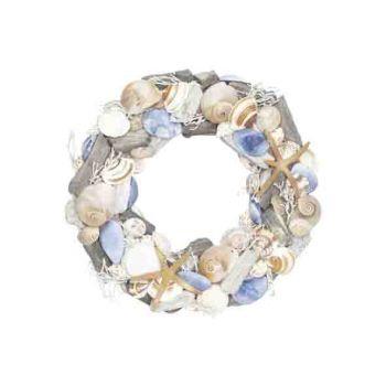 Cosy @ Home Kranz Shells Blau 32x32xh7cm Rund Holz