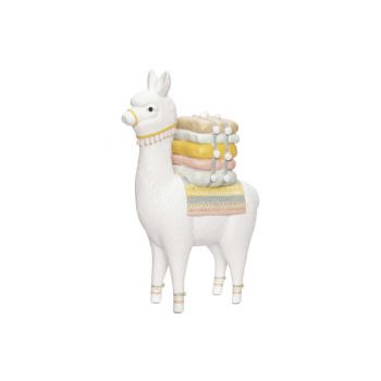 Cosy @ Home Lama With Saddle White 25x12xh37cm Resin