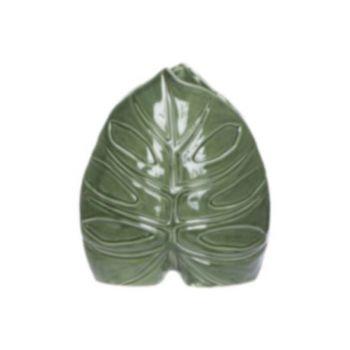 Cosy @ Home Vase Leaf Grun 19,5x9,3xh22cm Porzellan