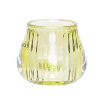 Cosy @ Home Teelichthalter Fluo Grun 8x8xh6,8cm Glas