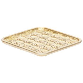 Cosy @ Home Tablett Peacock Gold 16,5x16,5xh1,2cm Qu