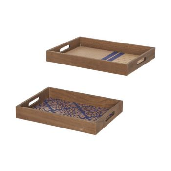 Cosy @ Home Tablett Set2 Gold Blau 40x29,5xh5cm Rech