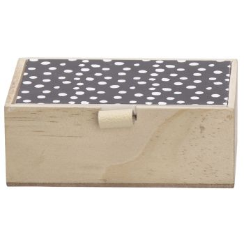 Cosy @ Home Dose Black Lid Natural 14x10xh5cm Holz