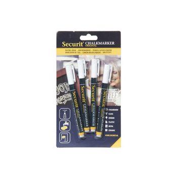 Securit Kreidemarker Set4 Liquid Weiss 1-2mm