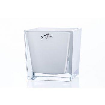 Sandra Rich Teelichtglas Weiss 10x10xh10cm