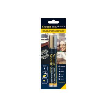Securit Chalkmarker Liquid Set2 Gold-silver