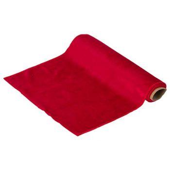 Cosy @ Home Tischlaufer Velvet Rot 35x200cm Textil
