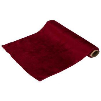 Cosy @ Home Tischlaufer Velvet Dunkel Rot 35x200cm T