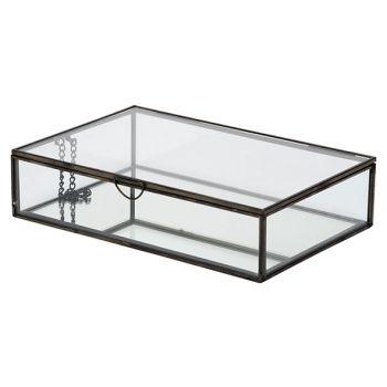 Cosy @ Home Dose Glass Schwarz 22x14,5xh5,3cm Metall