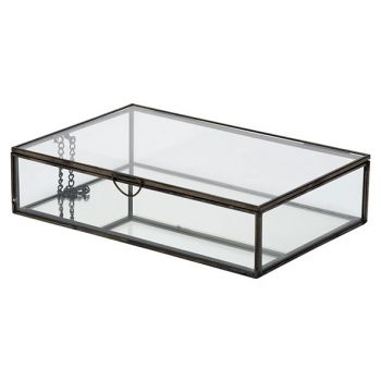 Cosy @ Home Dose Glass Schwarz 28x18,8xh6,8cm Metall