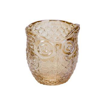 Cosy @ Home Teelichthalter Owl Orange 7x7xh9cm Glas