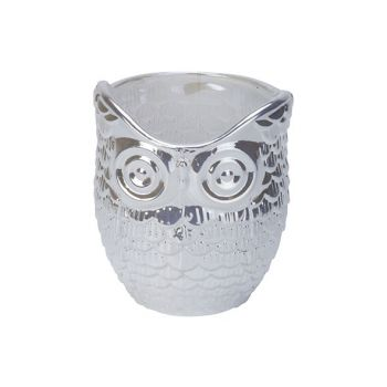 Cosy @ Home Teelichthalter Owl Pearl Weiss 7x7xh9cm